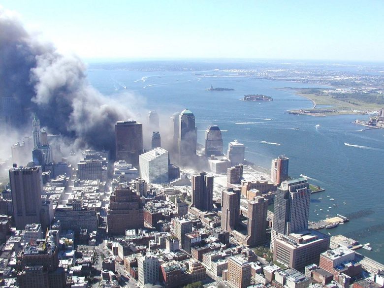 An aerial shot of The World Trade Center in New York on September 11, 2001.