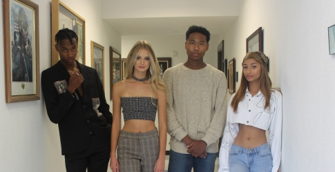 Ezla and models backstage before show.